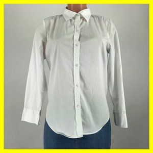 George Women's Top Size M White Button Front Long